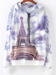 Front Pocket  Eiffel Tower Print Hoodie - S