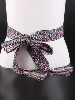 Embroidery Weaving Tassel Knotted Belt - Black