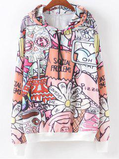 Front Pocket Cartoon Letter Print Hoodie - S