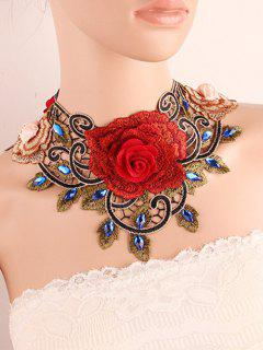 Faux Gem Flower Fake Collar Necklace - Red