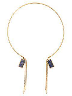 Tassel Chains DIY Raw Stone Necklace - Golden