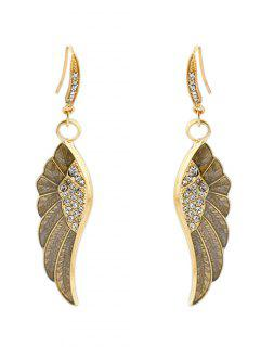 Rhinestone Angel Wings Leaf Earrings - Golden