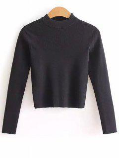 Medio Cuello Recortada Sudadera Suéter - Negro