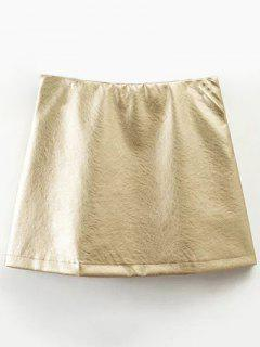 Mini Metallic Color Skirt - Champagne L