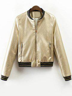 Metallic Color Bomber Jacket - Champagne Xl