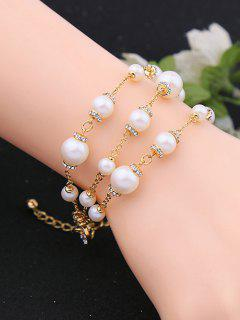 Faux Pearl Rhinestone Circle Layered Bracelet - Golden