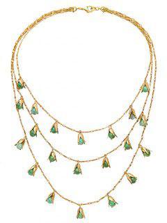 Vintage Perles En Alliage Collier Layered - Vert