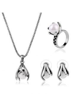 Ball Embedded Claw Jewelry Set - Silver