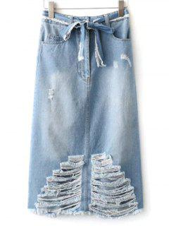 Ripped Midi Denim Skirt With Pockets - Light Blue S