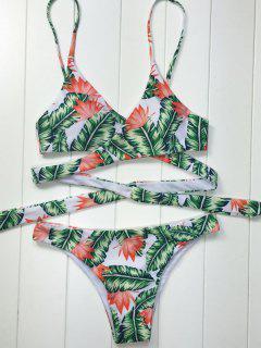 Leaf Print Wrap Bikini - White And Green M