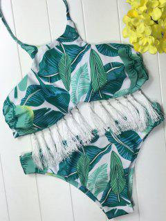Bikini Paddé Imprimé Feuilles à Col Halter Avec Glands - Blanc Et Vert S