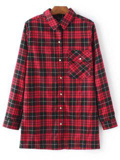 Checked Embroidered Shirt - Red S