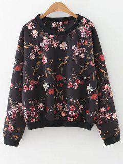 Floral Print Crew Neck Sweatshirt - Black L