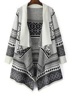 Jacquard Knit Drapé Cardigan - Blanc