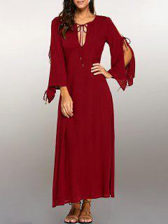 Split Sleeve Lacing Maxi Dress - Red M