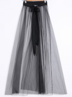 See-Through Slit Skirt - Black S