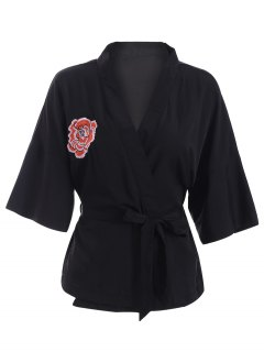 Embroidered Belted Kimono - Black 2xl