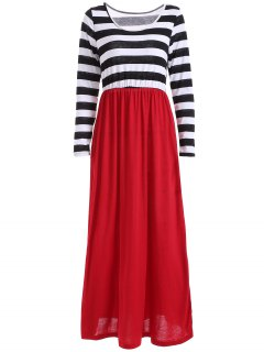 Striped Maxi Splice Dress - Black And White And Red M