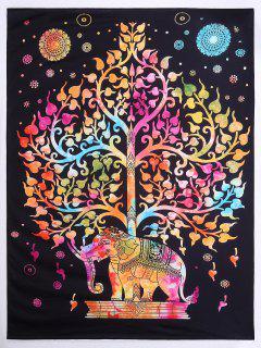 Tree Elephant Print Beach Square Throw - L
