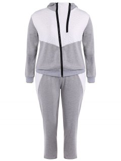 Color Block  Zip Up Hoodie With Pants - Gray Xl