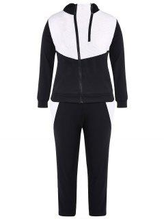 Color Block  Zip Up Hoodie With Pants - Black 2xl