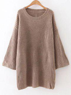 Drop Shoulder Long Sleeve Sweater Dress - Khaki