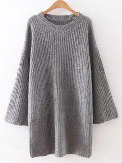 Caída Del Hombro Vestido De Suéter Manga Larga - Gris