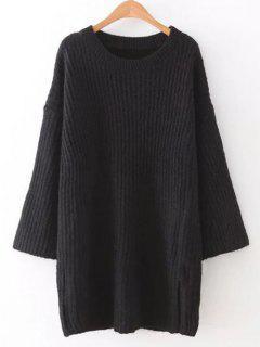 Robe Pull Mini à Manches Longues - Noir