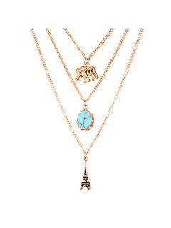 Eiffel Tower Sweater Chains - Golden
