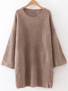 Loose Sweater Mini Dress - Brown