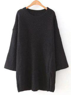 Loose Sweater Mini Dress - Black