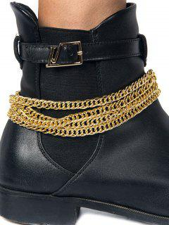 Chain Design Wrap Boot Anklet - Golden