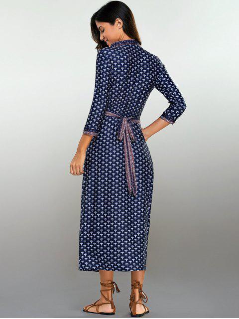 hot Printed Wrap Dress - PURPLISH BLUE S Mobile