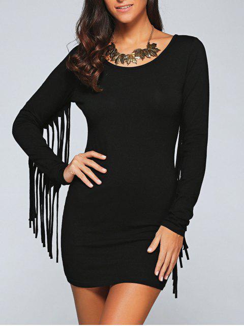 hot Long Fringe Bodycon Dress - BLACK XL Mobile