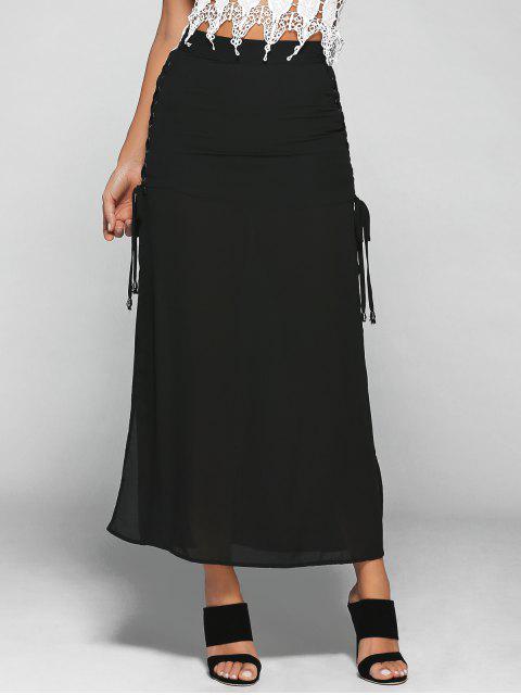 chic Lace-Up High Waist High Slit Skirt - BLACK S Mobile