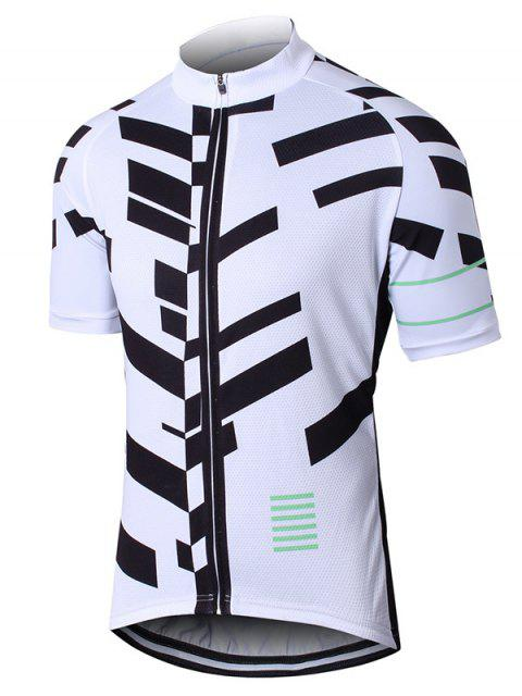 Geométrica de impresión camiseta manga Zip Up perforado Ciclismo Top - Blanco L Mobile