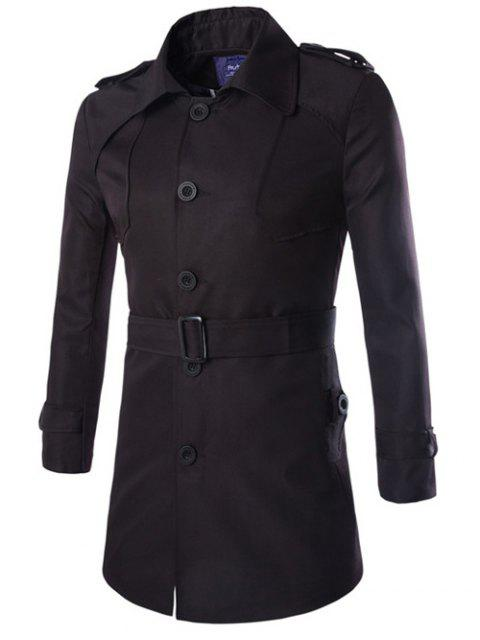 Collier Turn-Manteau Epaulet design Allonger Single-breasted - Noir M Mobile