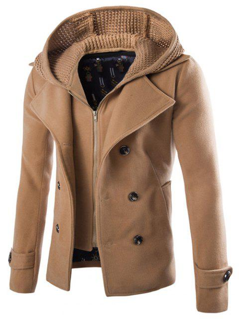 shop Detachable Knitting Hooded Pea Coat - CAMEL L Mobile