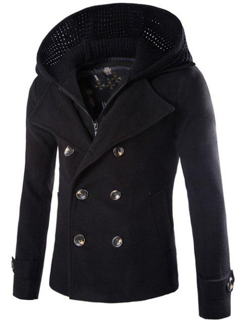 best Detachable Knitting Hooded Pea Coat - BLACK M Mobile