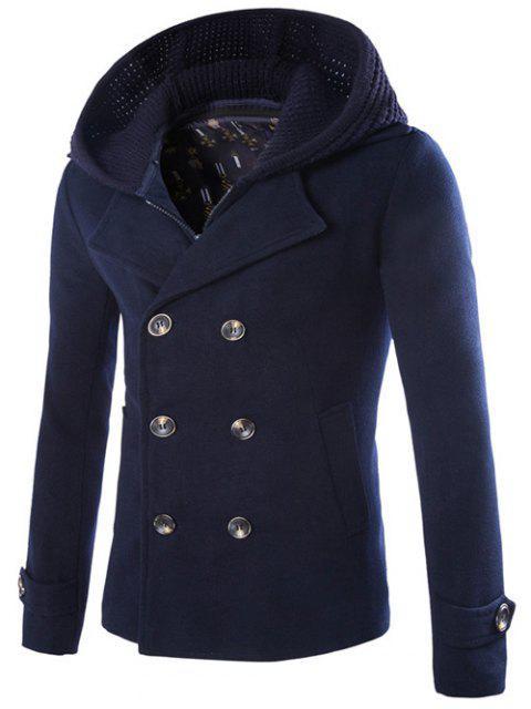 online Detachable Knitting Hooded Pea Coat - CADETBLUE M Mobile