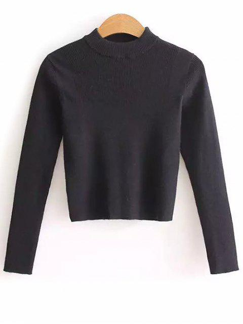 women's Mock Neck Cropped Pullover Sweater - BLACK ONE SIZE Mobile