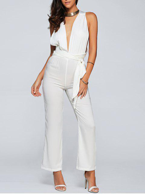 buy Back Criss Cross Jumpsuit - WHITE M Mobile