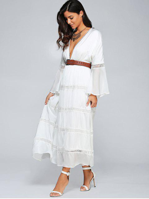 women's Low Cut Flare Sleeve High Waisted Maxi Dress - WHITE M Mobile