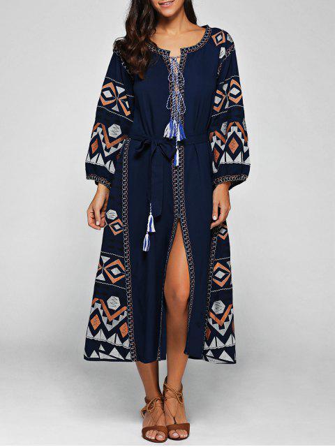 fashion Lantern Sleeve Embroidered Belt Maxi Dress - BLUE M Mobile