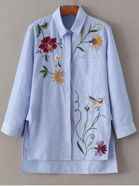 sale Embroidered Striped Casual Shirt - BLUE S Mobile