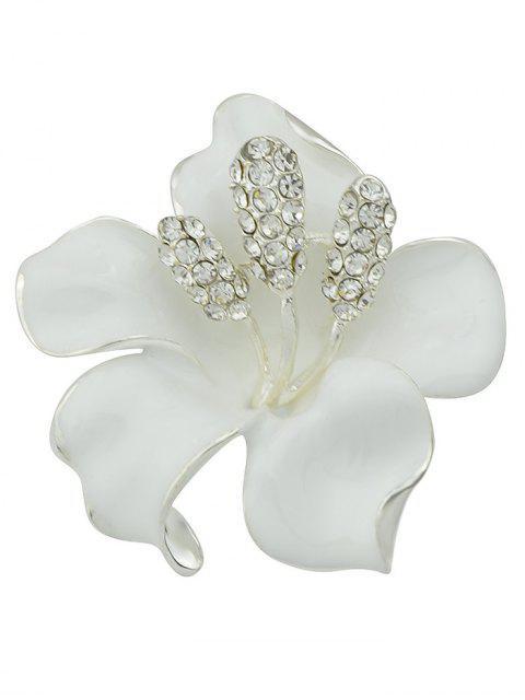 Broche Floral Rhinestone - Blanc  Mobile