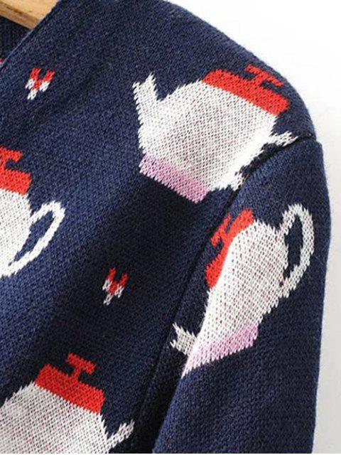 ladies Teapot Jacquard Knit Cardigan - PURPLISH BLUE ONE SIZE Mobile