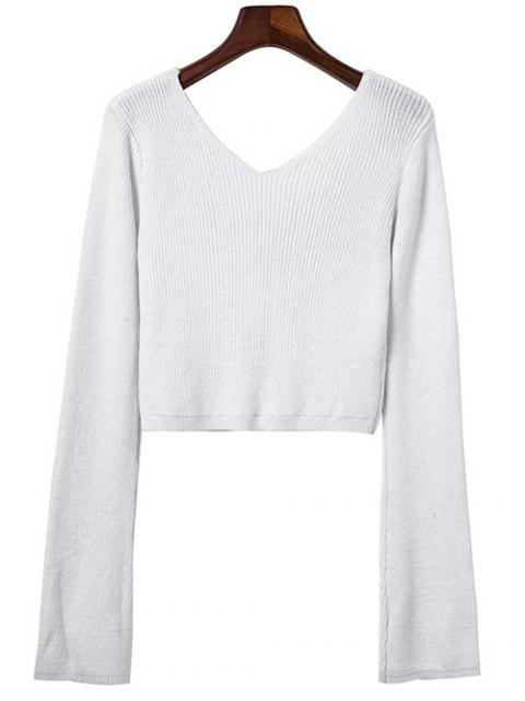 trendy Flared Sleeve Cropped Sweater - WHITE ONE SIZE Mobile