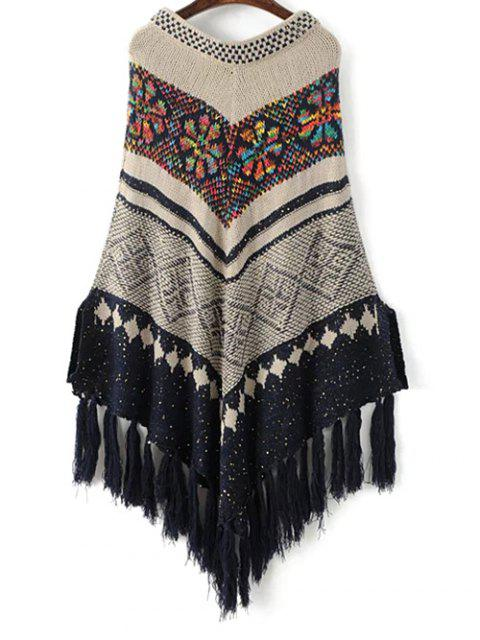 hot V Neck Jacquard Knit Poncho With Tassels - OFF-WHITE ONE SIZE Mobile