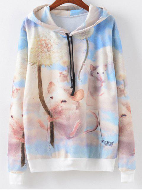 fancy Cartoon Mouse Print Drawstring Hoodie - MULTI S Mobile